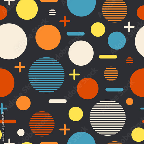 Cotton fabric Modern geometric seamless pattern with large and small circles.