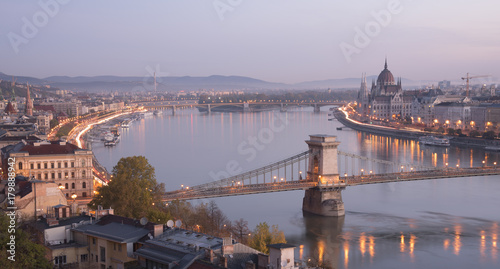 Papiers peints Budapest City view of bridge with lighting in early morning in Budapest, Hungary