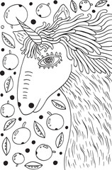 Unicorn horse coloring page for adults. Vector illustration