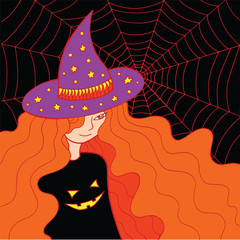 Witch girl in the hat and web. Doodle colorful coloring page for adults about halloween. Vector illustration