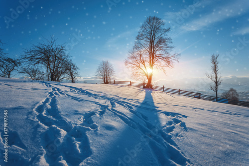 Winter landscape. road covered with snow - 179897548