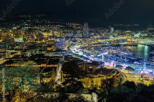 Foto op Aluminium Nice General view from the top point on the night Nice