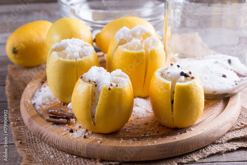 Foto op Canvas Marokko Moroccan Preserved Lemons with salt