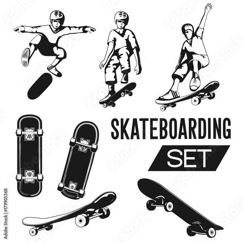 Fotobehang Skateboard Skateboarding package for the design of logos, badges, presentations, promotions and much more. Vector illustration.