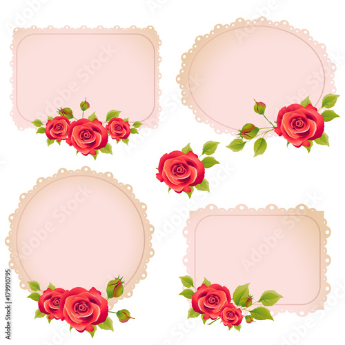 beautiful red flowers ,card,roses, on a white