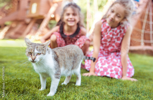 Papiers peints Artiste KB Two cheerful girls looking at the calm cat