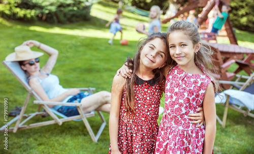 Foto op Canvas Artist KB Happy little kids relaxing on countryside
