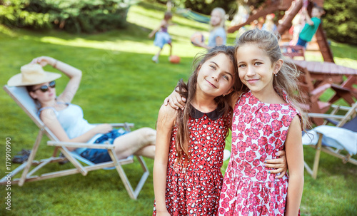 Papiers peints Artiste KB Happy little kids relaxing on countryside