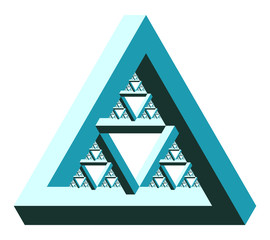 Fractal Penrose Triangle - Impossible Optical Illusion - Vector Illustration