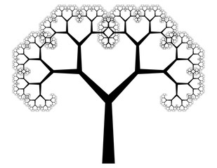 Flat Vector Computer Generated L-system Branching Fractal - Pythagorean Tree - Generative Art