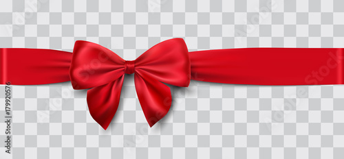 red satin ribbon and bow vector illustration - 179920576