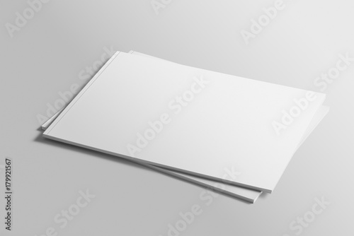 Aluminium Bleke violet Blank A4 photorealistic landscape brochure mockup on light grey background.