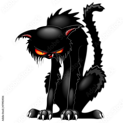 Fotobehang Draw Black Cat Evil Angry Funny Character