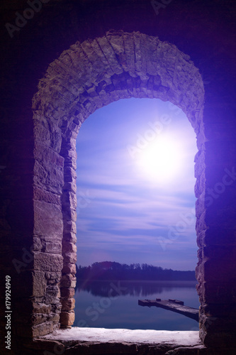 Papiers peints Violet Night moon landscape ancient stone wimdow