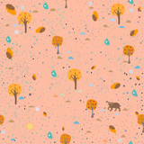 Hand Drawn Seamless Pattern with plants and berries. Artistic Creative Design.