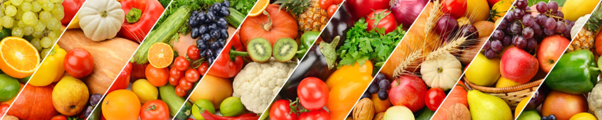 Panoramic collection fresh fruits and vegetables background.