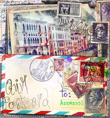 Papiers peints Imagination Lettere e cartoline italiane vintage di Venezia con vecchi francobolli