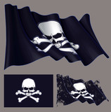 Waving Pirate Flag Jawless Skull And Bones Wall Sticker