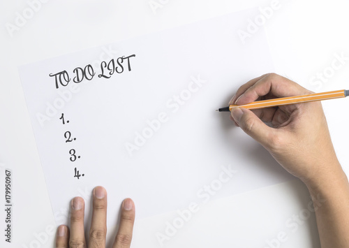 Hand writing down  To do List on white paper Poster
