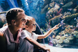 Mother and son watching sea life in oceanarium - 179954783