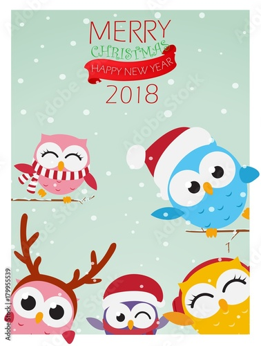 Aluminium Uilen cartoon Christmas background with owl