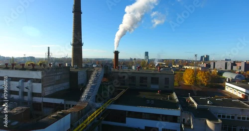 Foto op Aluminium New York Aerial view: Smoke goes out from the industrial chimney. Klaipeda County, Lithuania