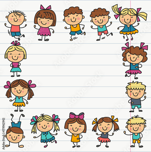 Frame with kids School, kindergarten. Happy children. Creativity, imagination doodle icons with kids. Play, study, grow Happy students Science and research Adventure Explore - 179962942