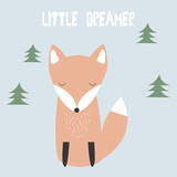 Little dreamer. Cartoon cute fox. Vector hand drawn illustration. - 179964582