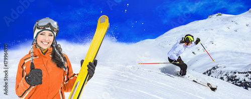 Foto op Canvas Donkerblauw Ski resort