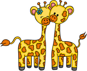 Cute couple giraffe