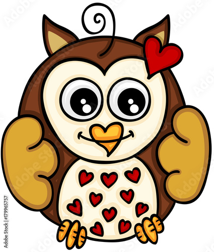 Foto op Plexiglas Uilen cartoon Cute little owl in love
