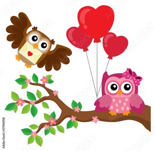 Aluminium Voor kinderen Valentine owls theme image 7