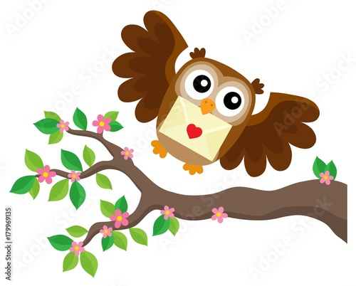 Aluminium Uilen cartoon Valentine owl topic image 6