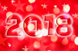 2018 greeting card on red shiny holiday lights background - 179969518