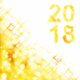 2018 square greeting card on golden shiny holiday lights background - 179969548