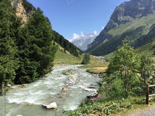 Fotobehang Bergrivier Rivière dans les Alpes