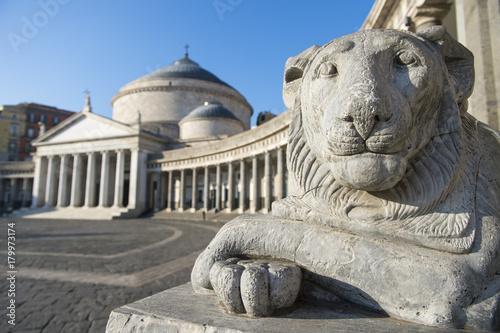 Fotobehang Lion View of the Basilica Reale Pontificia San Francesco da Paola (built in 1816) in Naples, Italy