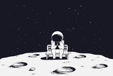 astronaut sits on the bench and see to mobile phone.Spaceman on Moon.Vector illustration - 179973328