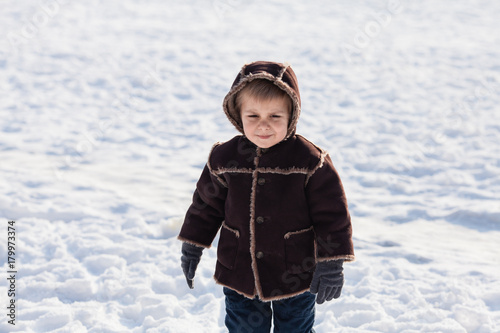 Winter portrait of boy Plakát