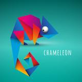 kolorowy kameleon origami wektor - 179974547