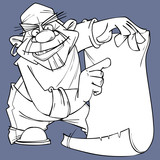 Sketch Of Cartoon Pirate Pointing At Blank Card Wall Sticker