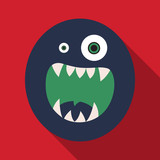 Flat icon with shadow halloween monster