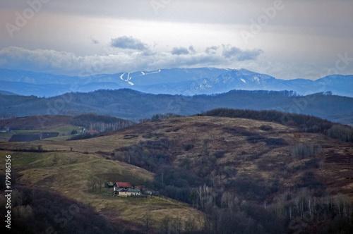 Fotobehang Zwart mountains view