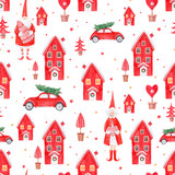 Nice watercolor christmas vector pattern