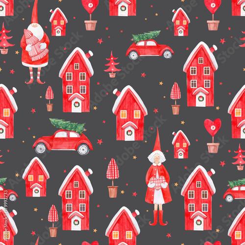 Materiał do szycia Nice watercolor christmas vector pattern