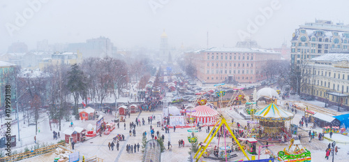 Aluminium Amusementspark Panorama of Christmas Fair in Kiev