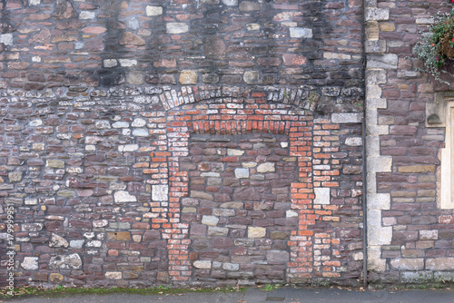 Foto op Canvas Baksteen muur Old Blinded Doorway