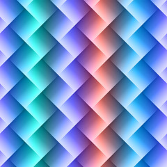 3d square mosaic seamless pattern. Vintage colorful texture with rainbow colors. Vector illustration.