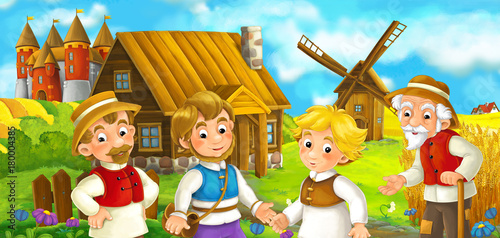 cartoon scene with some medieval farmers and cat standing talking and smiling beautiful castle in the background illustration for children - 180004385