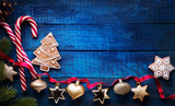 Christmas holidays ornament flat lay; Christmas card background - 180004988